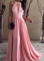 Keyhole Neckline Pink Prom Dresses Floor Length