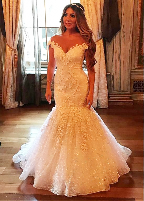 Luxury Tulle Jewel Neckline Mermaid Wedding Dresses With Beaded Lace Appliques & 3D Flowers