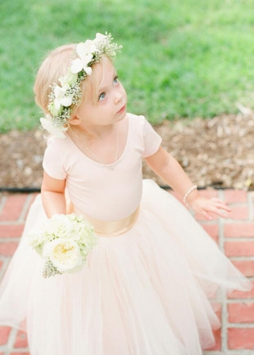 Light Pink Tulle Skirt Flower Girl Dresses with Sleeves