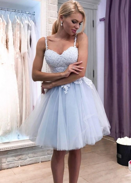 Lace Sweetheart Dusty Tulle Homecoming Party Dress with Shoulder Straps