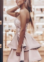 Lace Strapless Champagne Homecoming Dresses with Satin Layers Skirt