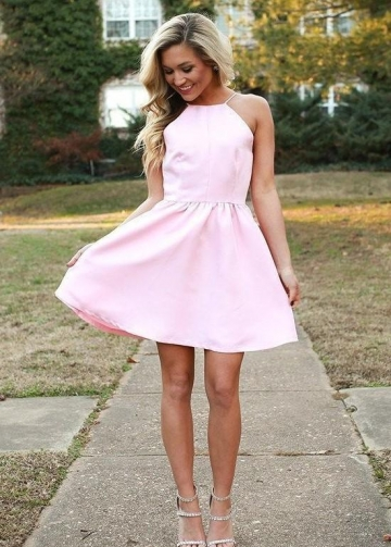 Light Pink Halter Party Gown with Short Satin Skirt