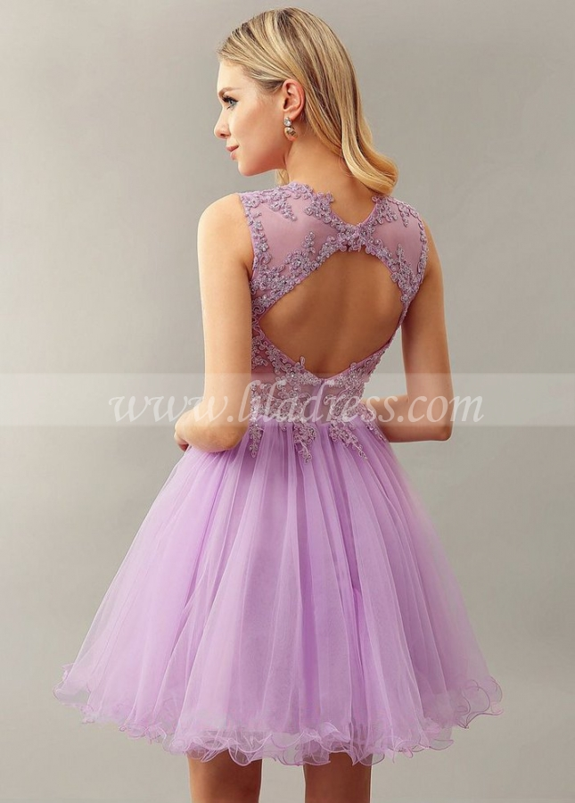 Lilac Lace Bead Sleeveless Custom Homecoming Dress Short