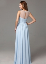 Light Blue Chiffon Long Bridesmaid Dresses Sleeveless
