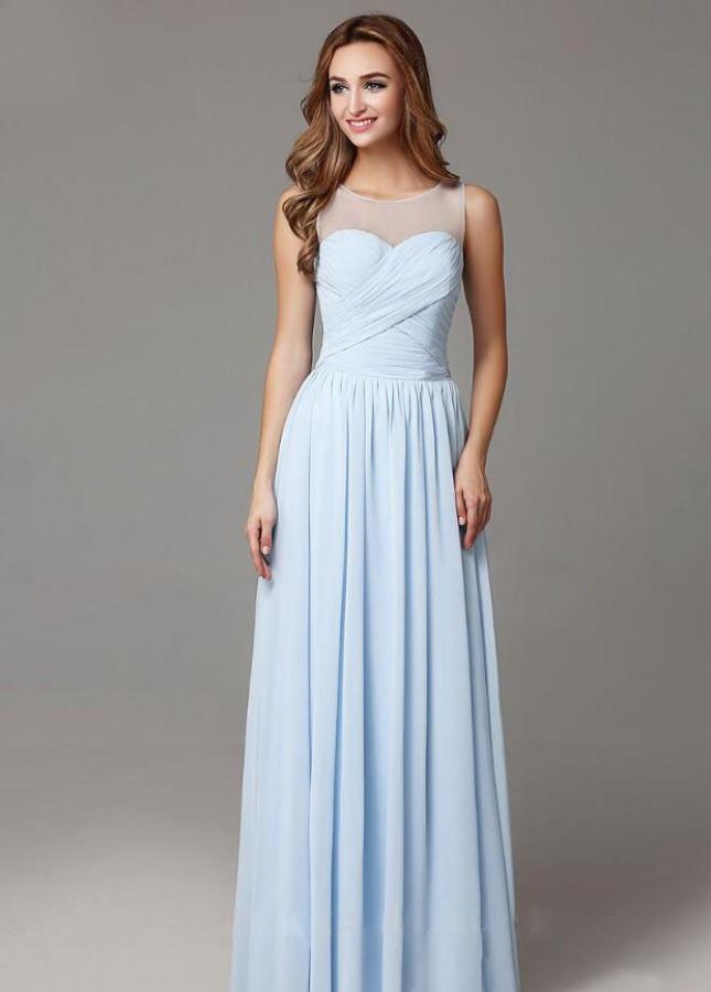 Light Blue Chiffon Long Bridesmaid Dresses Sleeveless