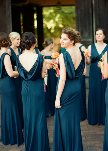 Long Dark Blue Wedding Guests Dresses Bridesmaid Draped Back