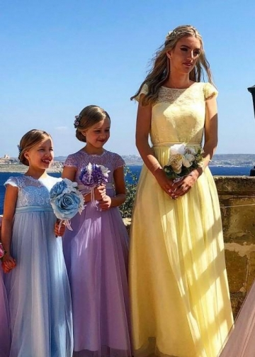 Lace Sleeves Yellow Bridesmaid Dresses with Tulle Skirt