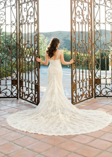 Luxury Pearls Beaded Lace Wedding Gown with Cathedral Train