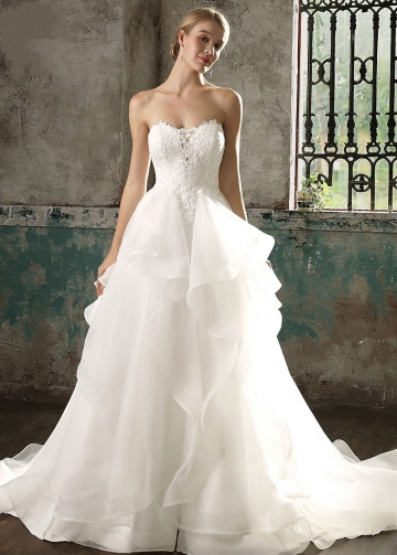 Lace Strapless Ruffles Organza Bridal Gowns 2018 vestido de casamento