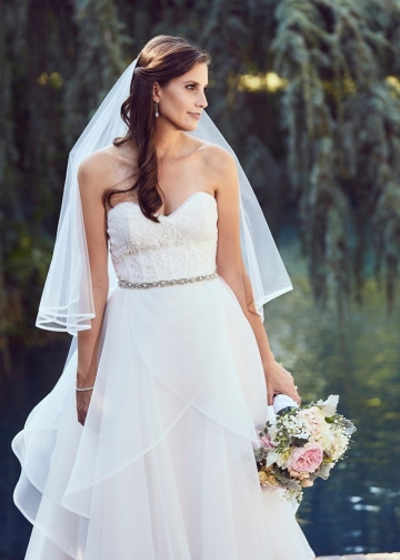 Lace Sweetheart Organza Wedding Dresses with Beaded Waistband
