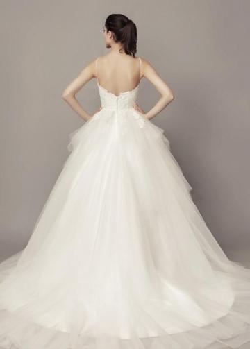 Lace Bodice Tulle Wedding Dresses Spaghetti Straps