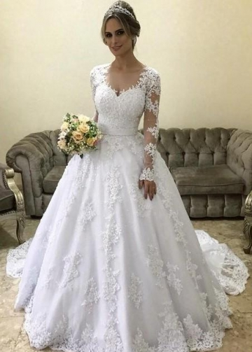Lace Long-sleeves Winter Wedding Dress with Illusion Neckline
