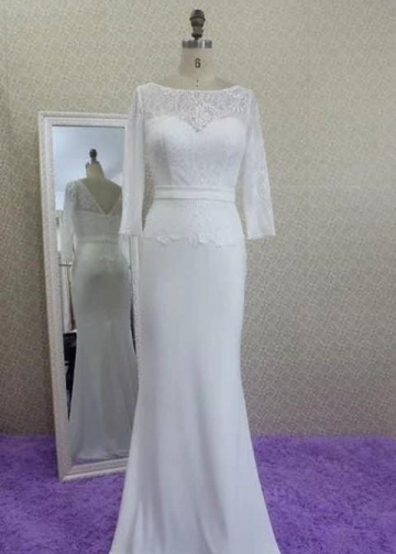 Lace and Chiffon Wedding Dress with Sleeves