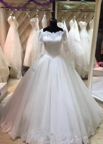 Lace Corset Long Sleeves Wedding Dress Tulle Cathedral Train