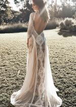 Lace Long Sleeves Boho Wedding Dresses with Open Back