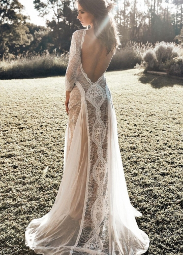 Lace Long Sleeves Boho Wedding Dresses with Open Back