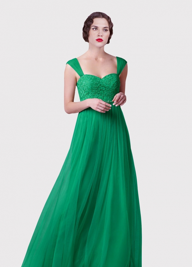 Lace and Tulle A-line Long Green Prom Dresses with Beaded Sash