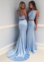 Light Blue Rhinestones Mermaid Prom Dresses 2 Piece