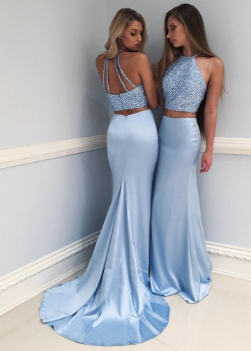 Light Blue Rhinestones Mermaid Prom Dresses 2 Piece