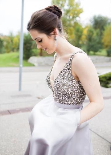 Low Cut V-neckline Rhinestones Prom Dress Satin Ball Gown
