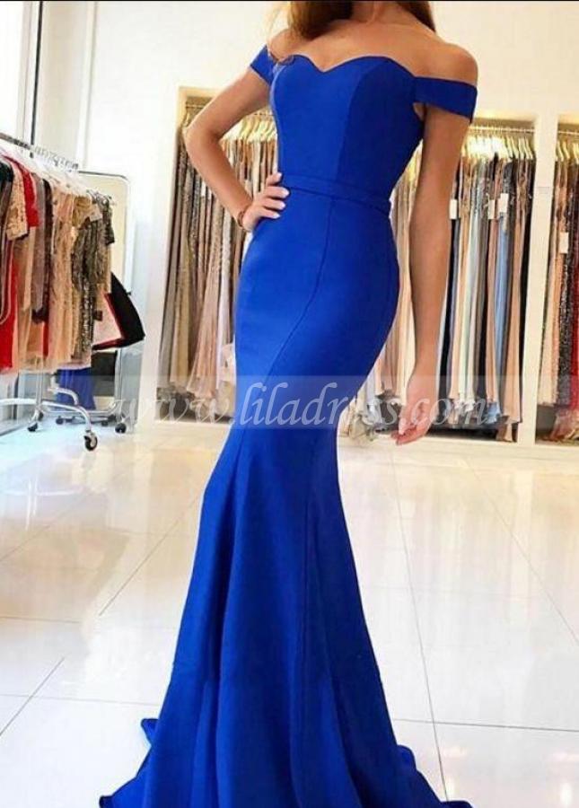 Long Off-the-shoulder Blue Formal Prom Dresses