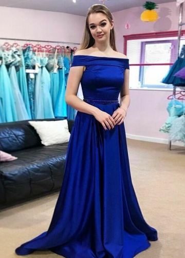 Long Royal Blue Evening Gown with Fold Off-the-shoulder