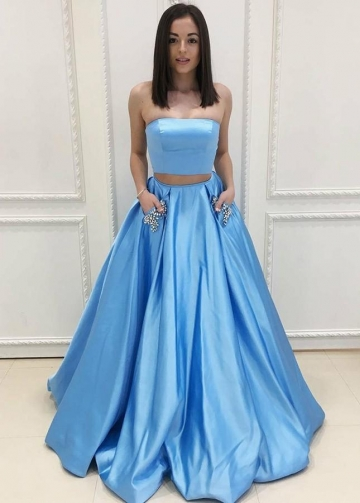 Light Blue Satin Two Piece Prom Gown with Rhinestones Pockets
