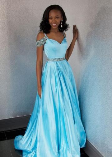 Light Blue A-line Long Prom Gown Beaded Off-the-shoulder vestido largo de baile