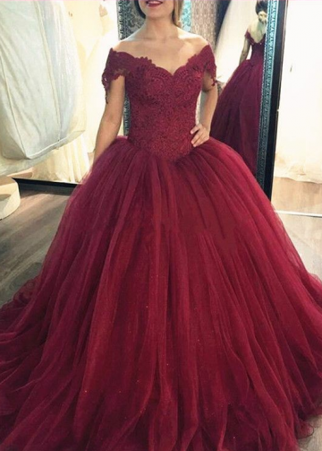 Lace Corset Tulle Burgundy Ball Gown Prom Dresses Off-the-shoulder