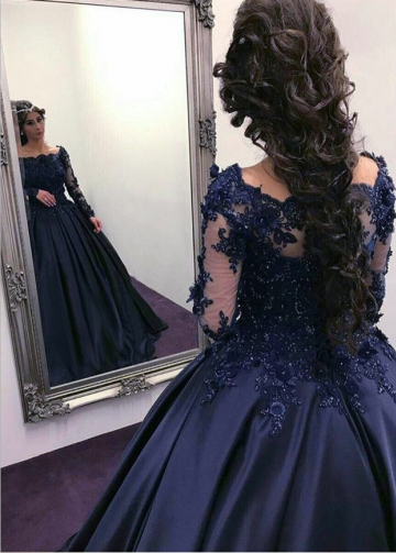 Lace Beaded Long Sleeves Navy Prom Ball Gown Dress Boat Neck