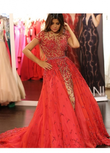 Luxury Beaded Lace Red Evening Prom Dress in Dubai Short Sleeves