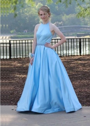 Light Blue Satin A-line Evening Dresses with Beaded Belt Sash
