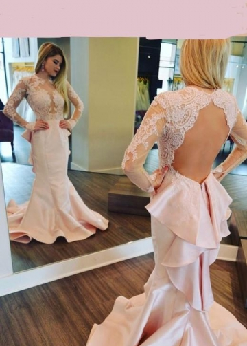 Long Sleeved Pink Mermaid Evening Dresses Lace Flounced Skirt