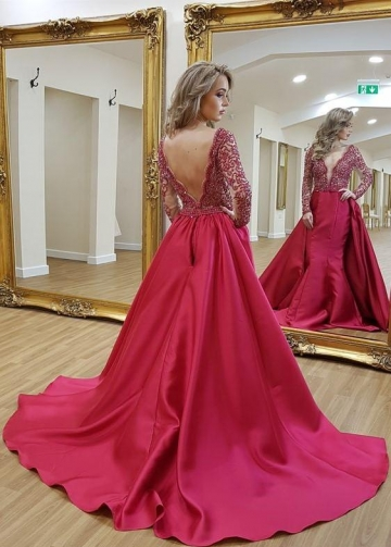 Long Sleeves Plunging V-neckline Beaded Evening Dresses with Satin Skirt