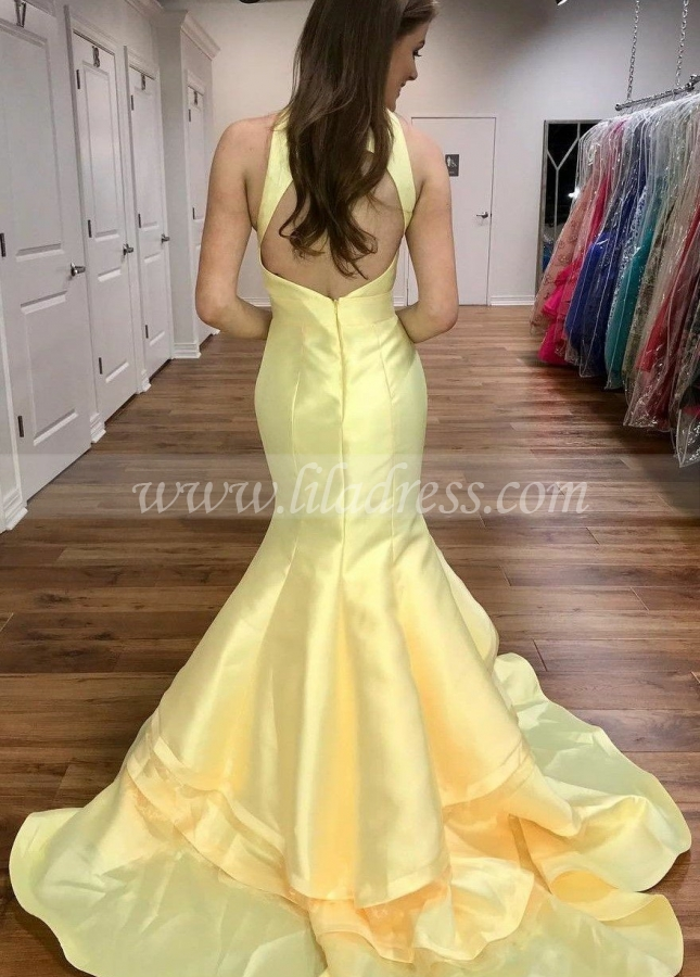 Light Yellow Satin Mermaid Evening Gowns with Tiered Skirt