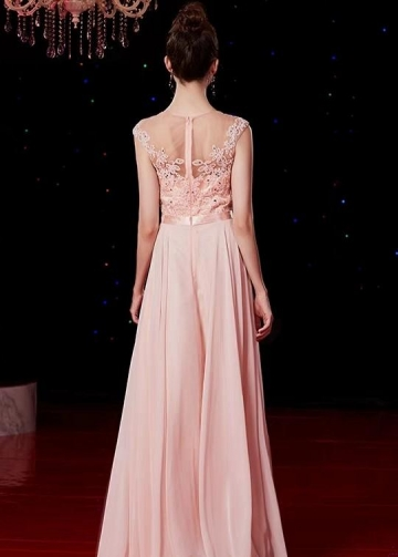 Long Pink Chiffon Evening Gowns Beaded Lace Bodice