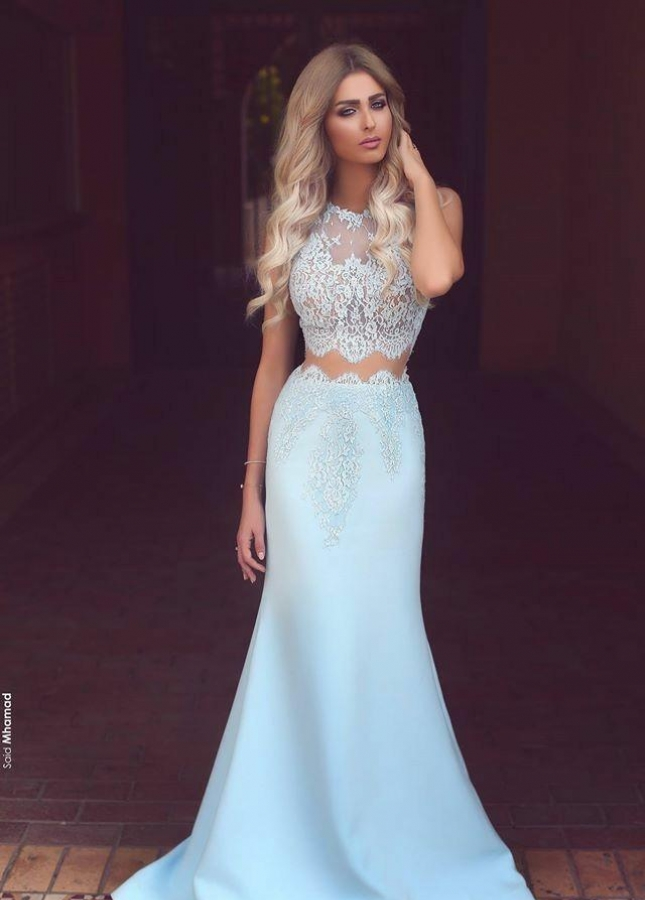 Light-blue Lace Satin Mermaid Prom Dress Two Piece