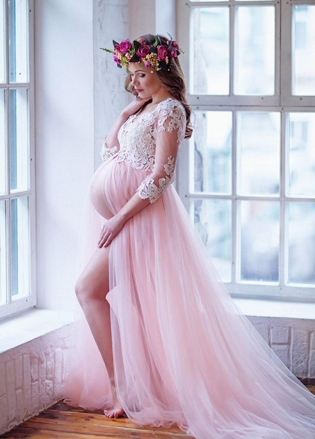 Lace Sleeves Maternity Prom Dresses with Tulle Skirt