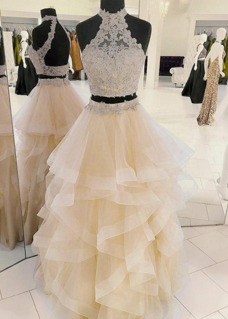 Lace Two-piece Champagne Prom Dresses with Horsehair Skirt