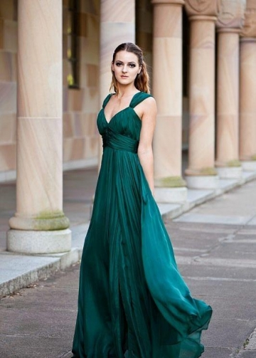 Long Chiffon Green Prom Dress with Ruching Bodice