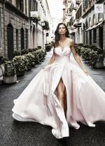 Light Pink Satin Prom Dress with Pleat Strapless Bodice