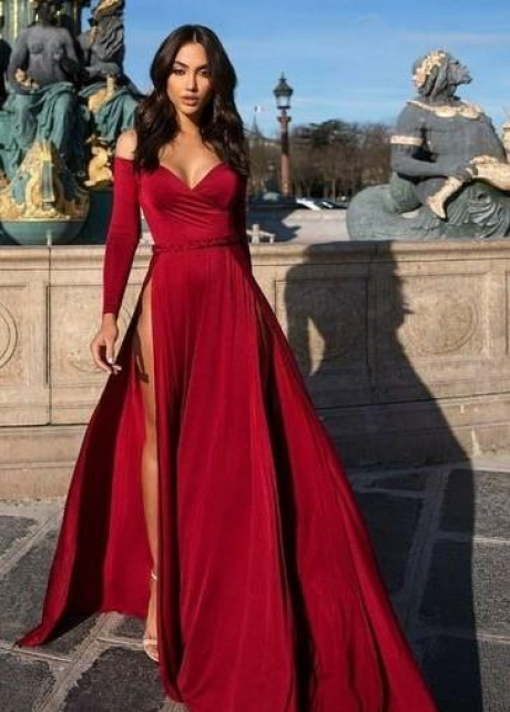 Long Sleeves Evening Dress with Off-the-shoulder