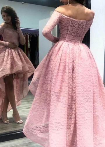 Long Sleeves Pink Lace Prom Dress with Short Front Skirt