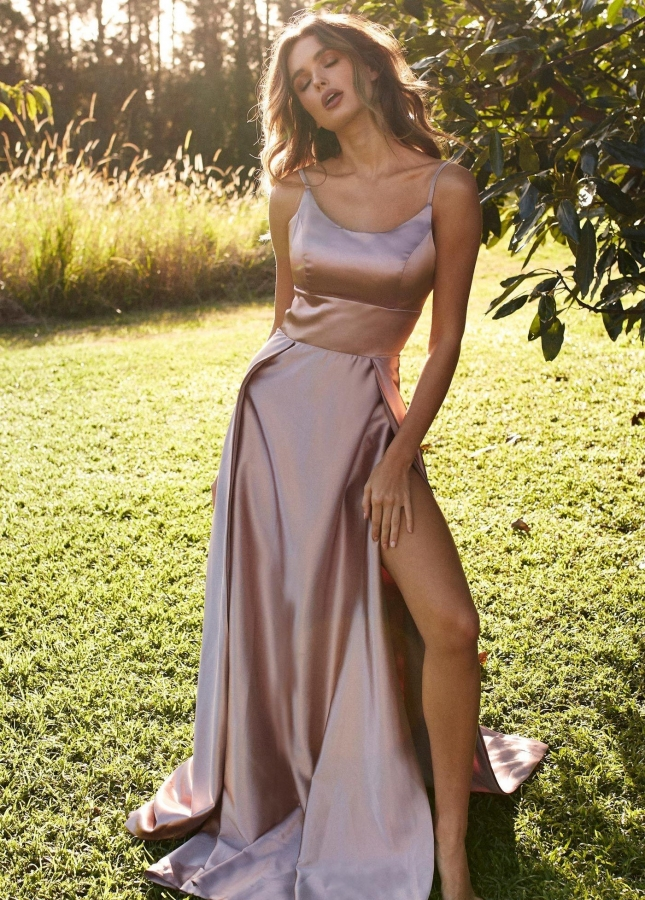 Long Mauve Prom Dress with Adjustable Straps