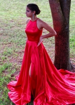 Leg Slit Red Prom Dresses with Long Train