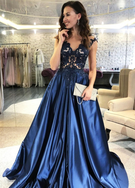 Lace V-neckline Navy Blue Evening Dress with Satin Skirt