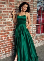 Long Green Prom Evening Dress with Lace-up Back