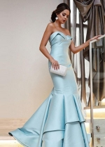 Light-blue Mermaid Style Evening Dresses with Fold Strapless