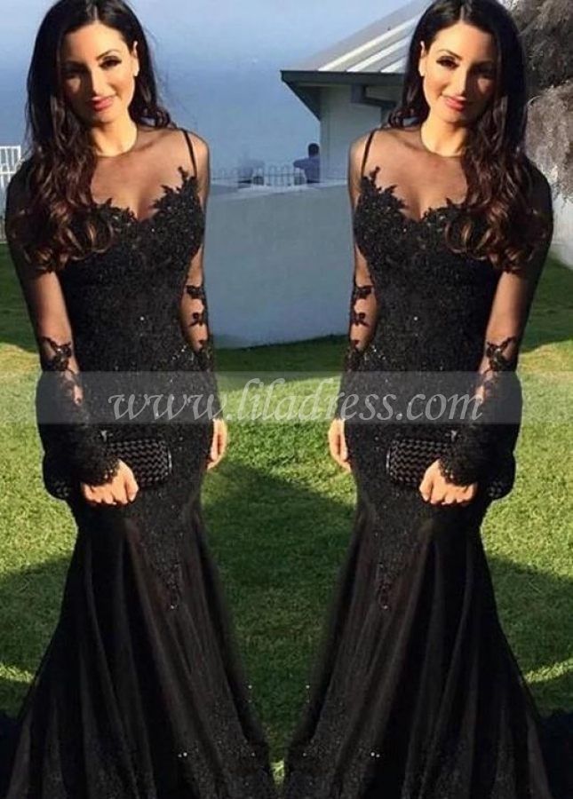 Long-sleeve Black Lace Evening Dresses with See-through Neckline