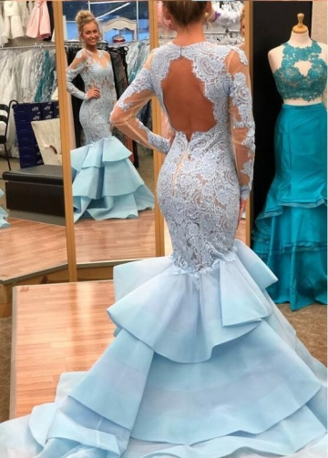 Light Blue Lace Mermaid Long Sleeves Prom Dresses with Tiered Skirt